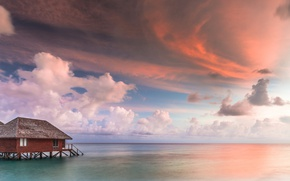 Picture sea, clouds, The Maldives, Bungalow, The Indian ocean