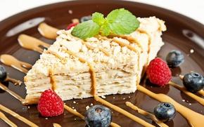 Picture berries, raspberry, cake, mint, blueberries, Napoleon