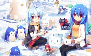 Picture winter, snow, girls, being, penguins, Rubik's cube, Shakugan no Shana, Mahou Shoujo Madoka Magica, Gintama, …
