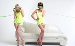 Picture girls, shorts, glasses, legs, handset