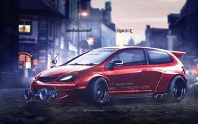 Picture Red, Auto, Machine, Honda, Art, Rendering, Civic, Honda Civic, Type-R, Yasid Design, Yasid Oozeear, YASIDDESIGN, …