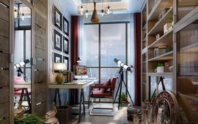 Picture telescope, the room, shelves, dumbbells, MY WORKSTATION