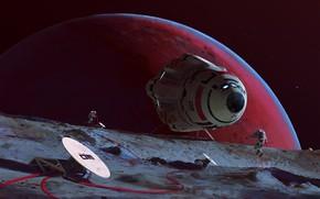 Picture planet, astronaut, antenna, camera, Phobos Relay