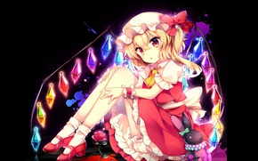 Picture darkness, art, vampire, Touhou Project, a pool of blood, Flandre Scarlet, project East, black rabbit, …