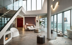 Wallpaper Penthouse in Milano, penthouse, interior, living room