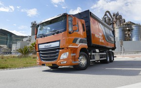 Picture road, orange, plant, body, shrub, DAF, DAF, dump truck, 6x2, platform, Euro6, DAF CF 310 …