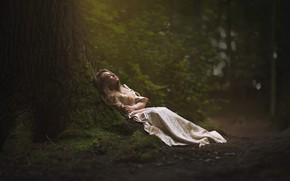 Picture forest, girl, tree, stay, dress, Marketa Novak, In forest