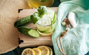 Picture lemon, ice, citrus, drink, mint