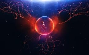 Picture light, darkness, bubbles, woman, ball, plasma, symbiosis
