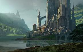 Picture mountains, castle, pond, settlement, Raphael Lacoste, KvasIr Fortress