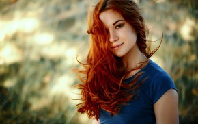 Picture look, girl, smile, background, sweetheart, portrait, makeup, hairstyle, redhead, bokeh