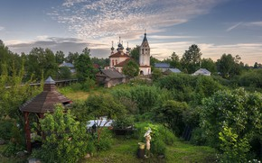 Picture summer, the evening, Church, patio, Vologda oblast, Ustyuzhna
