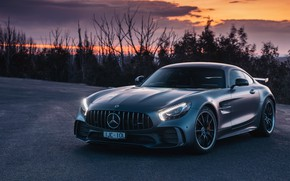 Wallpaper sunset, AMG, supercar, GT R, 2018, Mercedes-Benz, the evening