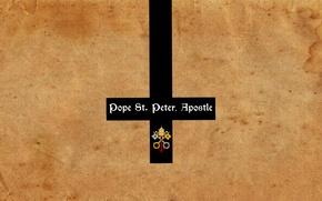 Picture cross, keys, Jesus, Saint Peter's Basilica in Rome, christianity, catholic church, Pope, Saint Peter, reverse, …