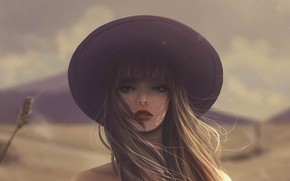 Picture girl, face, hat, long hair, art, blurred background, Jennyshiii