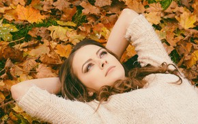 Picture autumn, look, leaves, girl, mood, hands