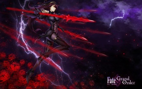 Wallpaper weapons, flowers, lightning, art, anime, spear, fate/grand order, girl, clouds, kause, the sky, stars, scathach