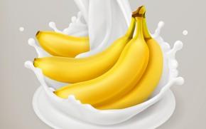 Picture background, milk, bananas