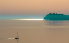 Picture sea, sunset, nature, fog, boat, island, color