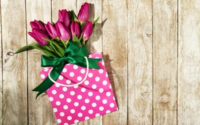 Picture flowers, bouquet, tulips, handbag