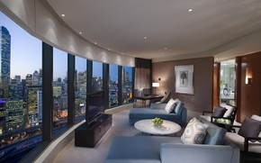 Picture sofa, view, window, Australia, the hotel, luxury, Crown Towers