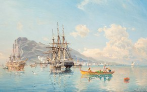Picture barrel, at anchor, Herman Gustav of Sillen, The Swedish frigate, in the roads of Gibraltar