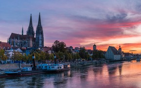 Picture the sky, trees, sunset, bridge, river, home, Germany, Palace, ship, Regensburg