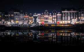 Picture reflection, night, the city, home, Amsterdam, Netherlands