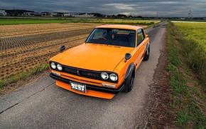 Picture Auto, Machine, Orange, Nissan, Field, Nissan, Lights, Car, 2000, Skyline, Nissan Skyline, 1972, 2000GT, Japanese, ...
