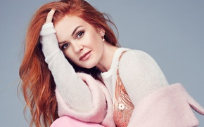 Picture pose, background, makeup, actress, hairstyle, coat, redhead, Isla Fisher, Isla Fisher, jumper, Glamour, Rachell Smith