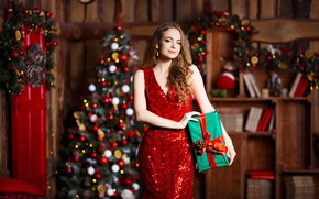 Picture girl, decoration, room, holiday, box, gift, toys, new year, Christmas, makeup, figure, dress, hairstyle, tree, …