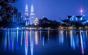 Picture night, lights, Malaysia, Kuala Lumpur, Petronas twin towers