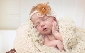 Picture sleep, girl, bow, baby
