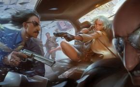 Wallpaper glasses, art, Lorraine Broughton, gang, the bandits, girl, Atomic Blonde, killer, Charlize Theron, gun