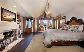 Picture design, room, bed, window, chandelier, fireplace, mansion, Design, bedroom, Bed, Interior, Bedroom