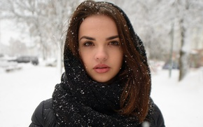 Picture winter, look, girl, face, sweetheart, model, portrait, scarf, brunette, jacket, white, beautiful, the beauty, cute, …