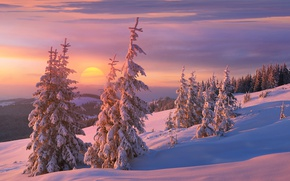 Picture winter, the sun, clouds, snow, sunset, mountains, hills, beauty, the evening, ate, slope, frost, shadows, …