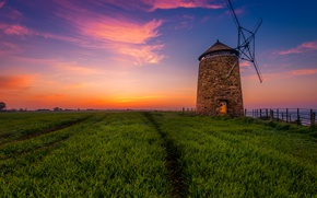 Picture sea, field, the sky, grass, sunset, coast, the evening, Scotland, mill, fence, St Monans