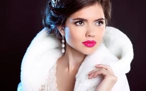 Wallpaper look, girl, decoration, model, earrings, makeup