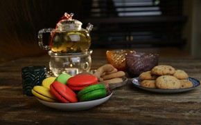 Picture tea, cookies, sweets, cakes, macaroon