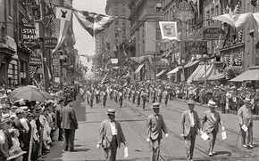 Picture retro, holiday, street, home, USA, parade, Baltimore, 1916-the year
