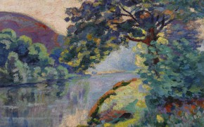 Picture landscape, river, tree, picture, Arman Hyomin, Armand Guillaumin, The Echo Rock