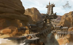 Picture mountains, style, the building, architecture, Chinese style