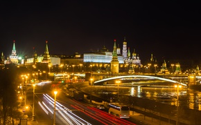 Wallpaper river, Kremlin, Moscow, night, lights, the city, Moscow, The Kremlin, Russia