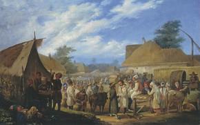 Picture oil, picture, canvas, genre, Fair in Ukraine, Vasily Sternberg