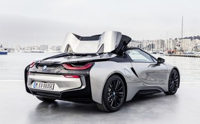 Picture roof, the sky, the city, grey, BMW, Parking, Roadster, hybrid, transformation, 2018, i8, i8 Roadster, …