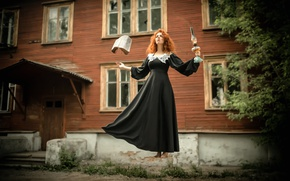 Picture girl, lamp, dress, book, witch, spell, the witch, levitation