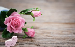 Picture love, flowers, roses, love, pink, buds, heart, pink, flowers, beautiful, romantic, roses
