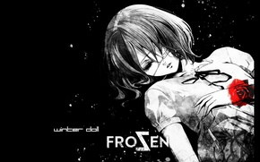 Picture darkness, loneliness, blood, spot, frost, eye patch, closed eyes, other, Another, Misaki Mei, winter doll