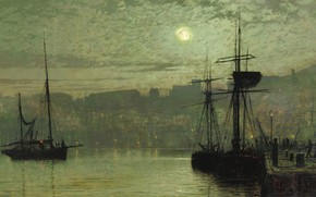 Picture night, ship, picture, The moon, the urban landscape, John Atkinson Grimshaw, Scarborough, John Atkinson Grimshaw
